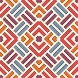 Wicker seamless pattern. Basket weave motif. Bright colors geometric abstract background with overlapping stripes. Royalty Free Stock Photography