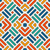 Wicker seamless pattern. Basket weave motif. Bright colors geometric abstract background with overlapping stripes. Royalty Free Stock Photo