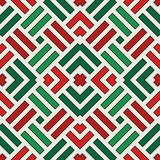 Wicker seamless pattern. Basket weave motif. Christmas traditional colors geometric background with overlapping stripes. Wicker seamless pattern. Basket weave vector illustration