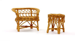 Wicker Settee and Table Stock Photos