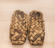 Wicker shoes, bast shoes, 18th century. 2015 Stock Photography
