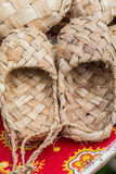 The wicker shoes of the rural population of Russia. The wicker shoes of the rural population of Russia, called bast shoes Royalty Free Stock Image