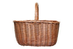 Wicker shopping basket isolated on white Royalty Free Stock Photography