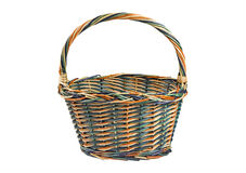Wicker shopping basket isolated on white Stock Photo