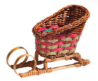 Wicker sledge. Wicker sledge on white background. The christmas souvenir Royalty Free Stock Images