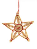 Wicker star. Wicker decor on a white background Royalty Free Stock Images
