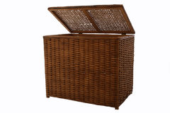 Wicker Storage Basket. A wicker storage basket for storing supplies, towels, clothes, dirty clothes, a  hamper Royalty Free Stock Photography