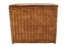 Wicker Storage Basket. A wicker storage basket for storing supplies, towels, clothes, dirty clothes, a  hamper Royalty Free Stock Photo