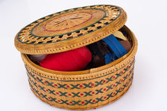 Wicker straw box for sewing accessories Royalty Free Stock Images