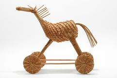 Wicker strawy horse. Wicker toy strawy small horse with clipping path stock photography