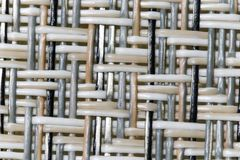 Wicker weaving and wicker pattern. Pliable twigs, typically of willow, plaited or woven to make items such as furniture and baskets stock images