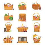 Wicker Picnic Baskets and Hampers Icons. Wicker and willow picnic baskets isolated on white. Various weaving hampers in flat design. Straw picnic basket icon set vector illustration