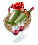 Wicker wine basket Royalty Free Stock Photos