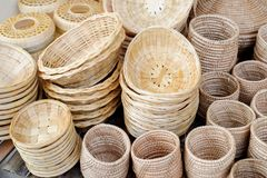 Wicker  wood   baskets Stock Photos