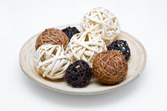 Wicker wooden balls Royalty Free Stock Photo