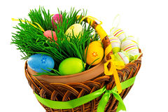 Wicker wooden basket with Easter eggs and fresh grass Royalty Free Stock Photography