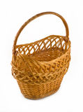 Wicker woven basket over white Royalty Free Stock Photo