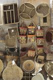Wicker woven baskets hand hanging Stock Photo
