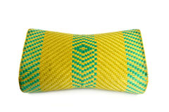 Wicker woven pillow. On white , thai Stock Photo