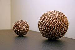 Wickers balls. Two interior decorative Wickers balls Royalty Free Stock Photo
