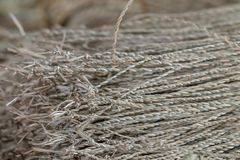 Wickerwork σύσταση τεχνών που γίνεται από το ξηρό sedge υπόβαθρο Κλείστε επάν στοκ εικόνα με δικαίωμα ελεύθερης χρήσης