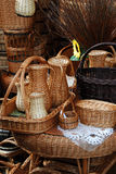 Wickerwork. Handmade traditional wickerwork at the  fair show Royalty Free Stock Photo