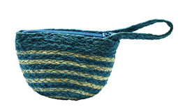 Wickerwork bag. The blue wickerwork bag isolated Royalty Free Stock Photography