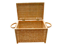Wickerwork open wood basket isolated over white Royalty Free Stock Photo