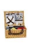 Wickerwork picnic hamper. Wickerwork picnic hamper isolated on white Stock Photo