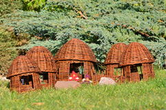 Wickerwork - a village of elves. Spatial form is made of wicker - Village of the Elves Stock Image