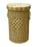 Wickerwork wood basket isolated over white Stock Image