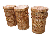 Wickerwork wood baskets isolated over white Royalty Free Stock Images