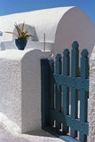 Wicket of traditional house in Oia village, Santorini island. Stock Photo