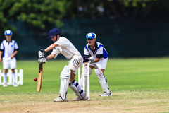 Wicketkeeper игрок с битой, отбивающий мяч сверчка младший Стоковое Фото
