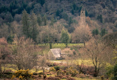 Wicklow Ireland Europe. St. Kevin's ancient church in Glendalough, Wicklow Mountains, Ireland Royalty Free Stock Photo