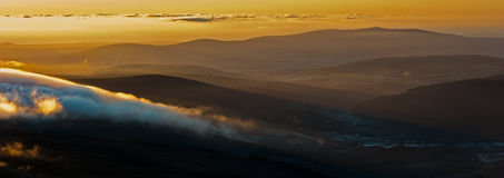 Wicklow Mountain. Lugnaquilla meaning hollow of the woodis a 925-metre (3,035 ft) tall mountain in County Wicklow, Ireland. It is the highest peak of the Wicklow Stock Photos