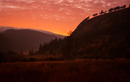 Wicklow Mountains National Park. Sunset scene in mountains .Wicklow Mountains National Park, Laragh Glendalough Royalty Free Stock Photography
