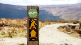 Wicklow Way Sign. Yellow man stock images