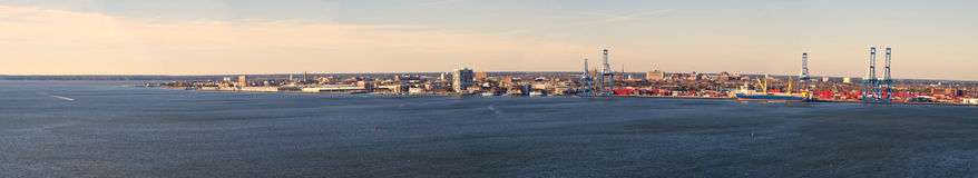 Wide aerial panorama of charleston south carolina. Wide aerial view of charleston, south carolina and harbor Royalty Free Stock Photos