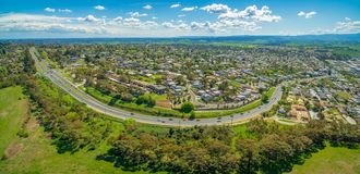 Maroondah Highway and Lilydale suburb. stock images