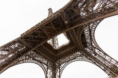 Wide angel view of Eiffel Tower from below Royalty Free Stock Photography