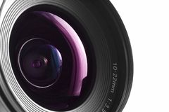 Wide angle. A close-up of a wide angle camera lens stock image