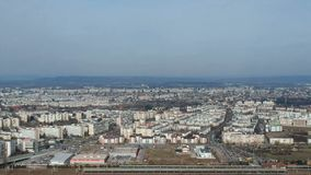 Ploiesti City, Romania, west side residential zone, aerial footage. Wide angle aerial footage from high above of the west side of Ploiesti City , Romania with stock footage