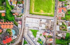Wide Angle, Aerial Shot Of Banos De Agua Santa, EcuadorWide Ang royalty free stock image