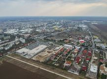 Ploiesti City , Romania, north side zone, aerial view. Wide angle aerial view from high above of the north side of Ploiesti City , Romania with the main royalty free stock images