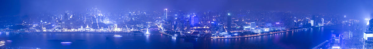 Wide angle aerial view of night Shanghai bund Royalty Free Stock Photos