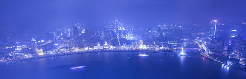 Wide angle aerial view of night Shanghai bund Stock Photos
