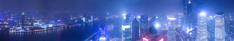 Wide angle aerial view of night Shanghai bund Stock Photo