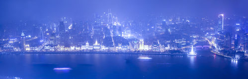 Wide angle aerial view of night Shanghai bund Stock Image