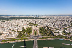 Wide angle aerial view of Paris on Eiffel Tower Stock Photography